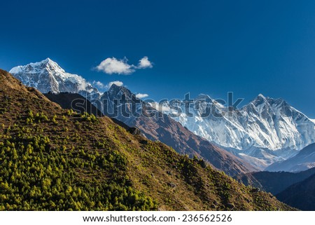 Mountain landscape in Himalaya with blue sky, on a sunny day - stock photo