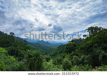 Mountain Landscape in Khoa Sok National Park, South of Thailand