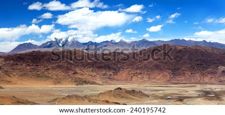 Mountain landscape in Ngari Prefecture, Tibet Autonomous Region of China - stock photo