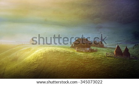 mountain landscape in summer morning, Romania - stock photo