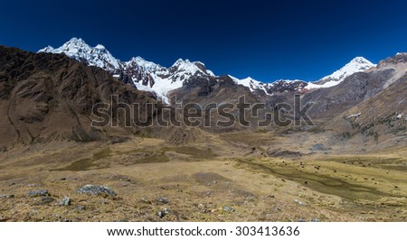Mountain landscape in the Andes, Peru, Cordiliera Blanca