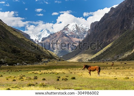 Mountain landscape in the Andes, Peru, Cordiliera Blanca - stock photo