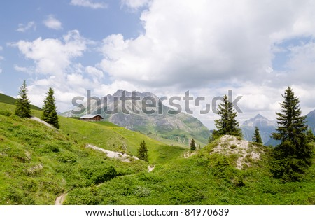 Mountain landscape in the Austrian Alps - stock photo