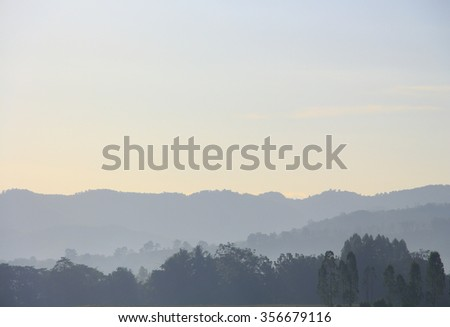 Mountain landscape in the morning