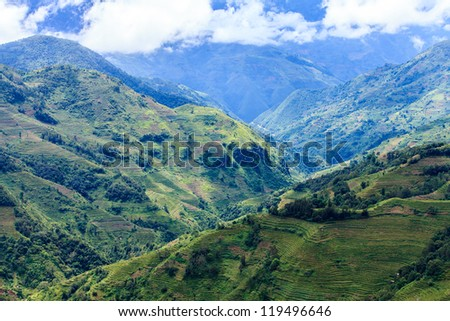 Mountain landscape in the South of China - stock photo