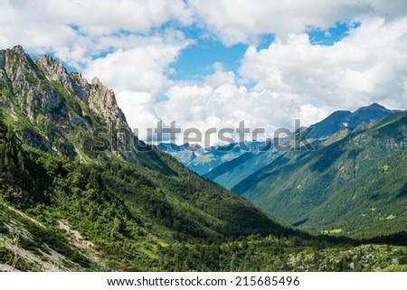 Mountain landscape in Val di Scalve, Schilpario, Italy - stock photo