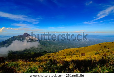 Mountain Landscape. Mount Merbabu, Central Java, Indonesia