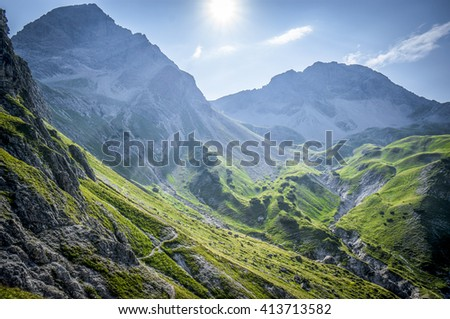 Mountain landscape of the Allgau Alps - stock photo