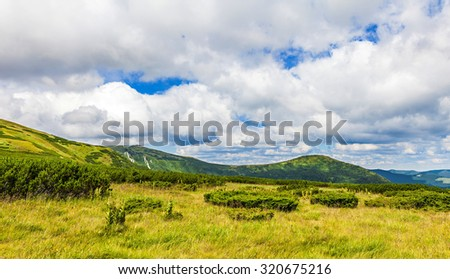 mountain landscape of the Montenegrin ridge in Carpathians