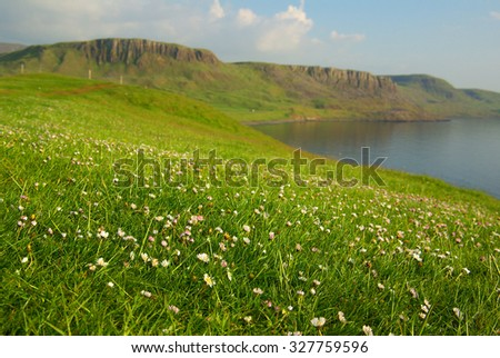 Mountain landscape on the isle of Skye in Scotland - stock photo