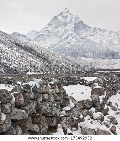 Mountain landscape on the trek to Mount Everest - Nepal, Himalayas - stock photo