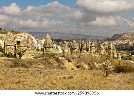 Mountain landscape panoramic view in the Goreme