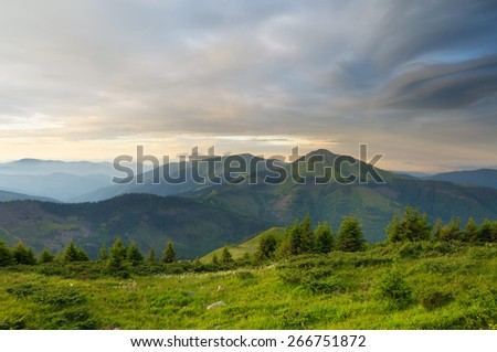 Mountain landscape. Summer morning with beautiful sky - stock photo