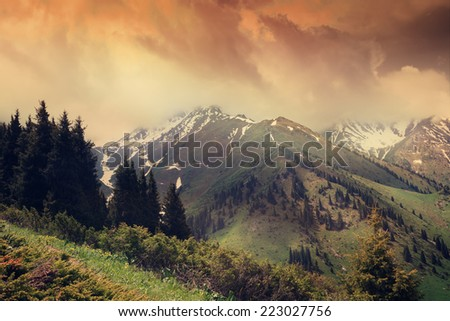 mountain landscape, the Tien-Shan Mountains, Kazakhstan. With retro toning. - stock photo