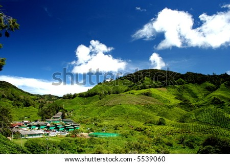 mountain landscape under the blue sky - stock photo