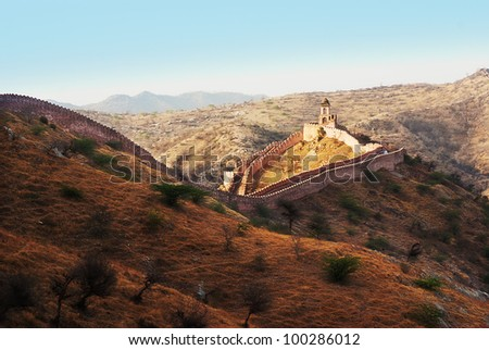 mountain landscape view in Jaipur fort in India