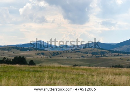 Mountain landscape. Weather before summer storm. Zlatibor mountain, Serbia.