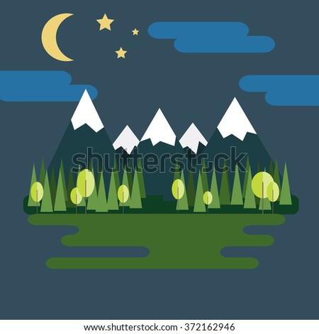 Mountain Landscape. Wild Nature: Mountains with Ice Peaks, Fir Trees, Lake and Starry Sky with Half Moon at Night. Digital background flat raster illustration. - stock photo