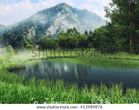Mountain landscape with a lake and green meadow. 3D illustration.