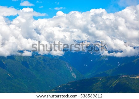 Mountain landscape with big white clouds