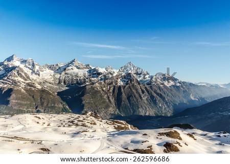 Mountain Landscape with Blue Sky, Alps, Zermatt, Switzerland - stock photo