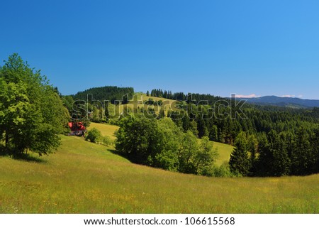 Mountain landscape with clear blue sky - Moravian-Silesian Beskydy