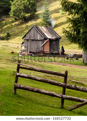 Mountain landscape with fir trees, wooden fences and cottage in Transylvania, Romania - stock photo