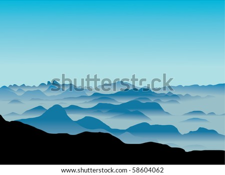 Mountain landscape with fog. This image is also available  as vector. - stock photo