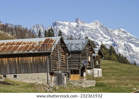 Mountain landscape with hay hut in the Val Medel in Switzerland - stock photo