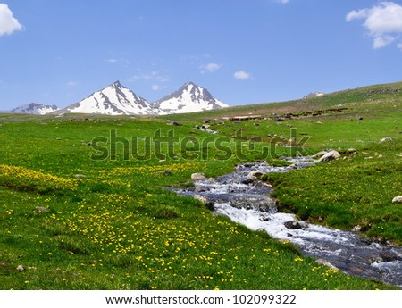 Mountain landscape with river - stock photo
