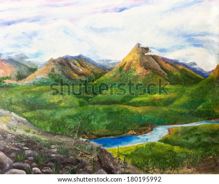 Mountain landscape with river. Oil painting. - stock photo