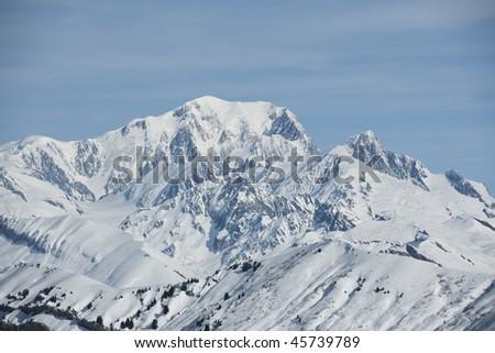 Mountain landscape with snow, Mont Blanc, Areches, Savoie, France