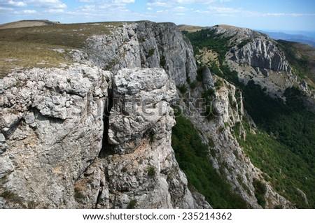 Mountain landscape with steep rocks. Crimea, Karabi. - stock photo
