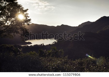 Mountain landscape with sun light glowing