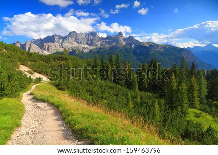 Mountain landscape with trail and green meadow and forest, Dolomite Alps, Italy - stock photo