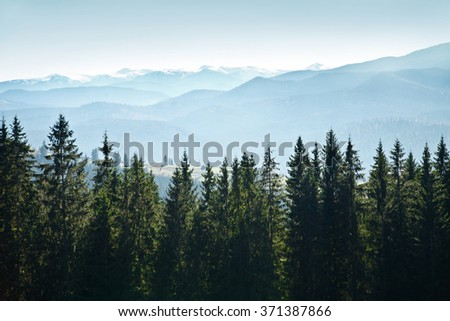 Mountain landscape with trees against the sky - stock photo