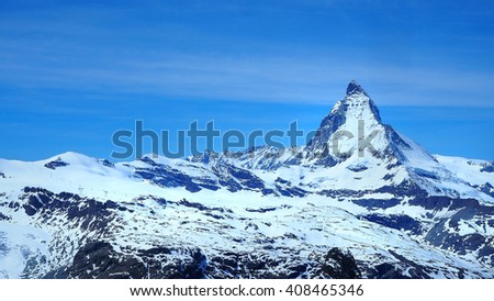 Mountain Matterhorn on a clear sunny day, Zermatt, Switzerland