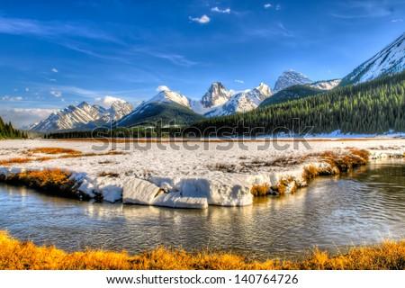 Mountain meadow in spring, Kananasksi Country Alberta Canada - stock photo