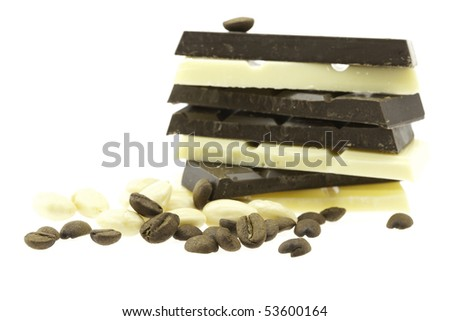 mountain of dark and light chocolate isolated on white - stock photo
