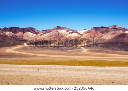 "Mountain of seven colors at the national park  ""Eduardo Avaroa national reserve of andean"" - stock photo"