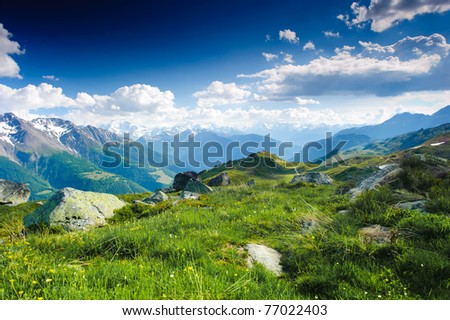 mountain panorama from fiescheralp and bettmeralp, wallis, switzerland