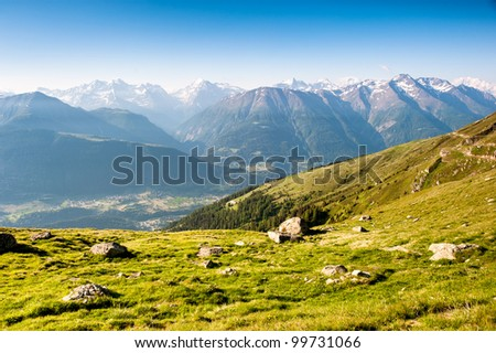 Mountain panorama from fiescheralp, wallis, switzerland