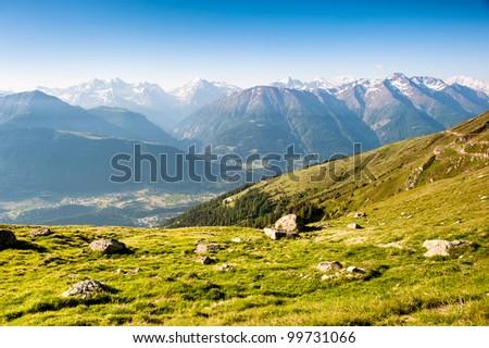 Mountain panorama from fiescheralp, wallis, switzerland - stock photo