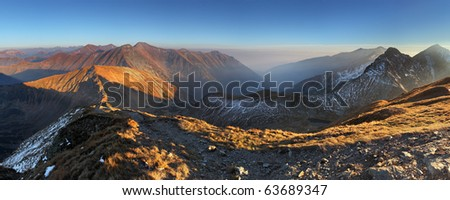 Mountain panorama from peak Volovec in West Tatras - Rohace , Slovakia