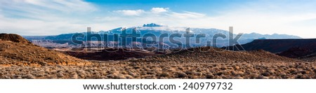 Mountain Panorama from Valley of Fire State Park, Nevada - stock photo