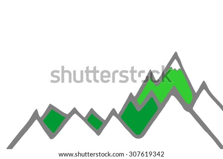mountain panorama, illustration - stock photo