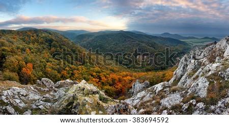 Mountain panorama in Slovakia - Small Carpathian - stock photo