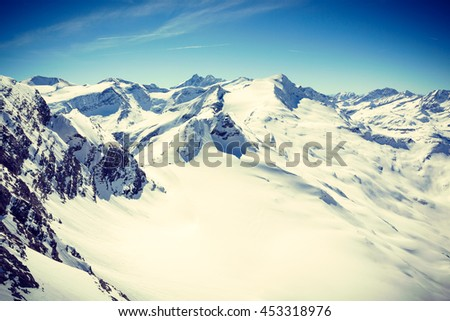 Mountain Panorama with Grossglockner - The highest peak of Austria - stock photo