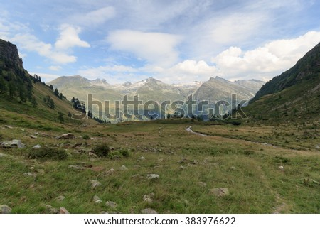 Mountain panorama with Riegelkopf in Hohe Tauern Alps, Austria - stock photo