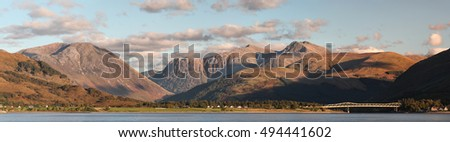 Mountain panoramic view from Loch Linnhe looking over to North Ballachulish and the Ballachulish bridge.